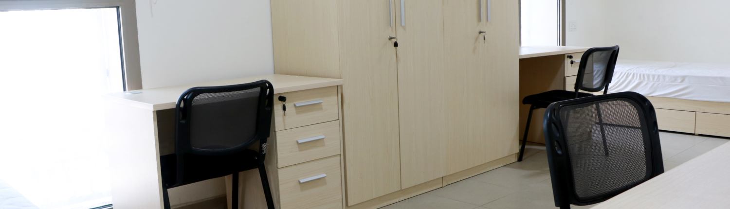 A shared room in student housing residences at GUtech campus
